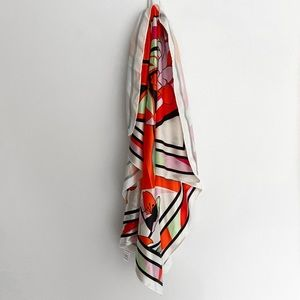 Oversized satin graphic scarf